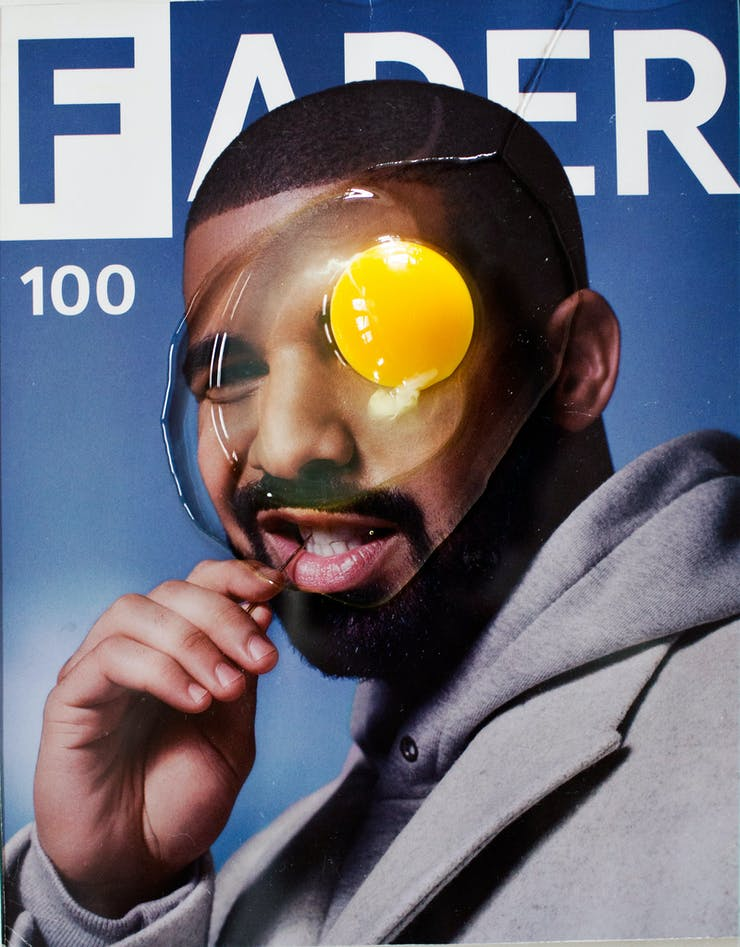 magazine cover of man with egg on his face