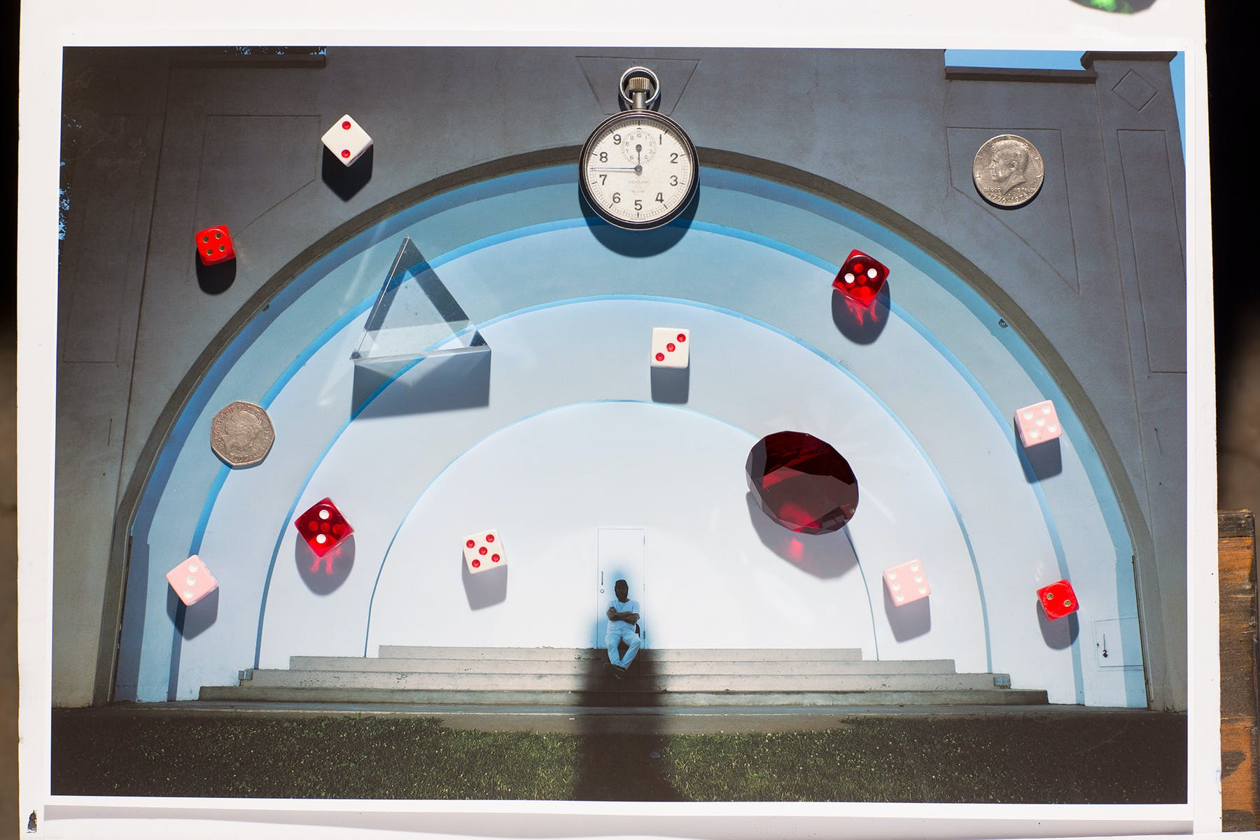 staged view of a tunnel with various objects