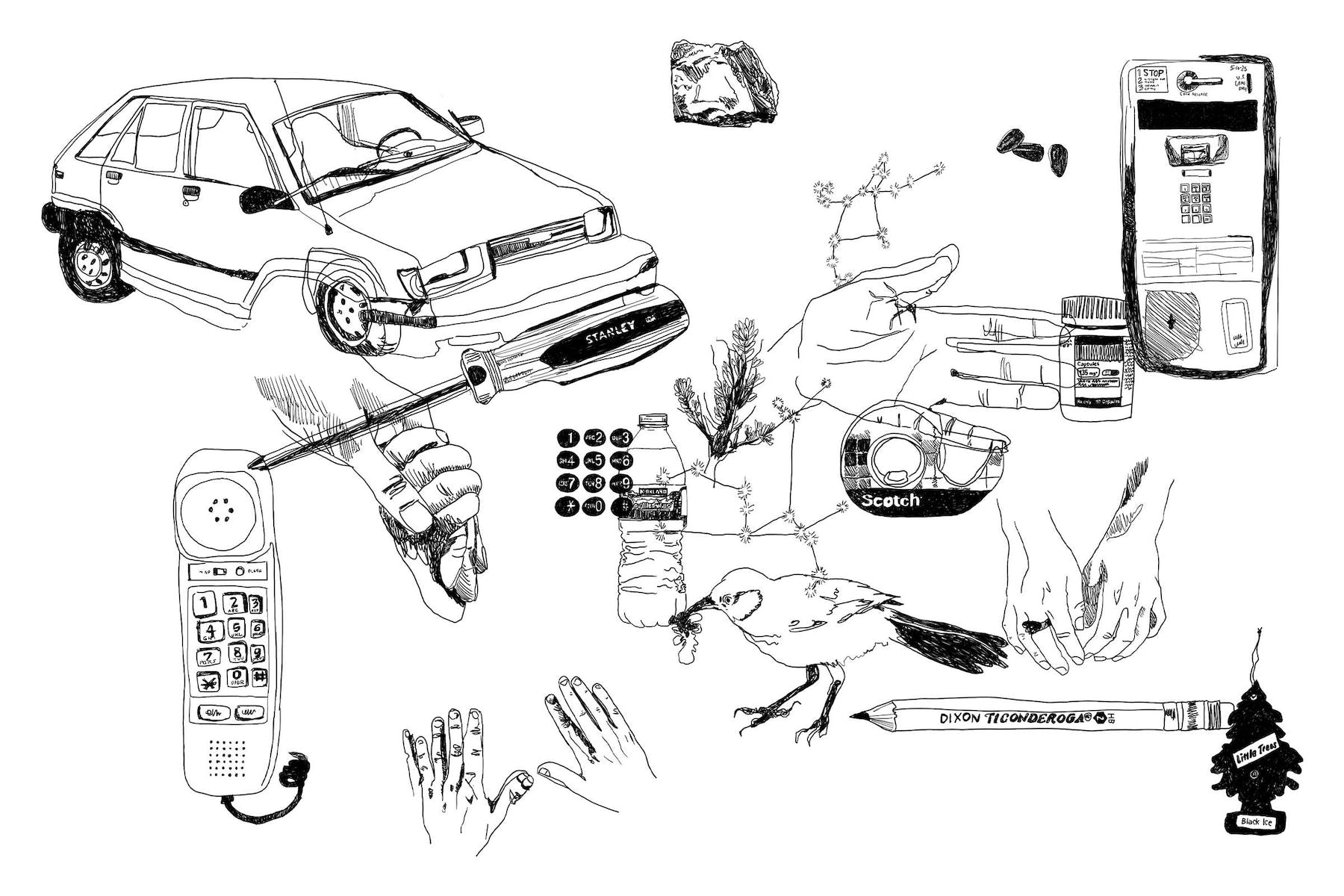 Collage of line drawings of various elements; car, bird, phone, hands, pencil