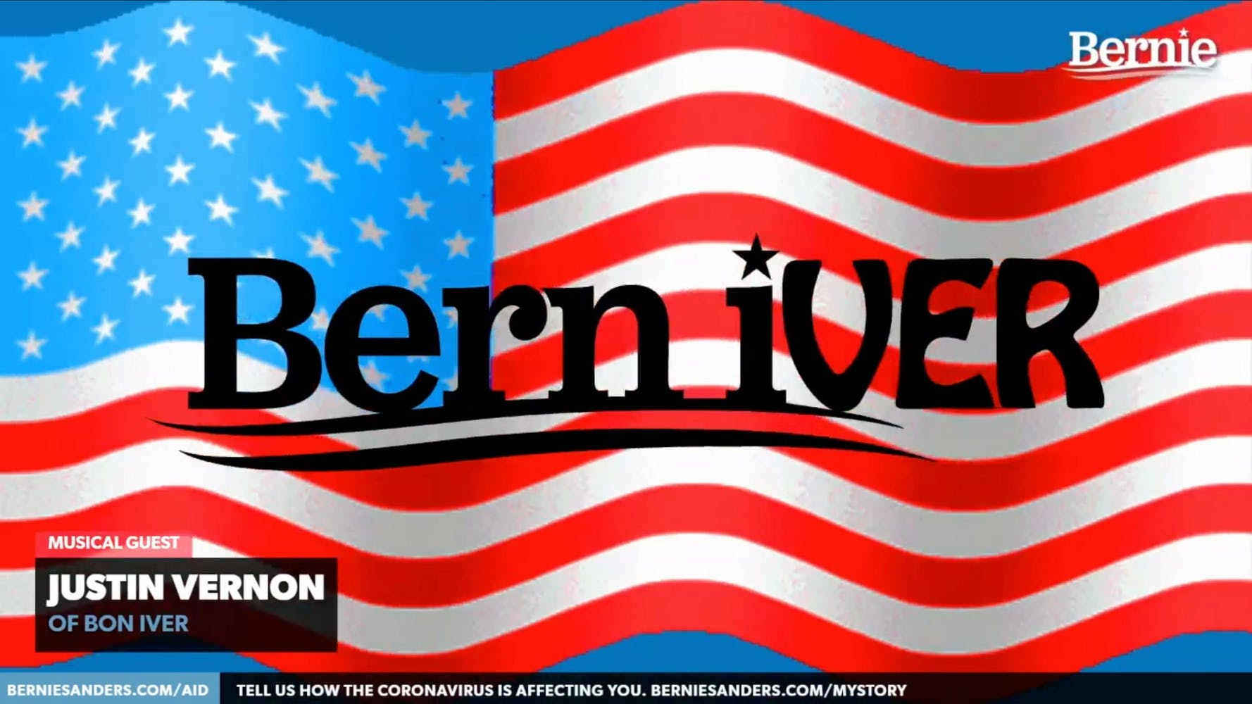 """American flag with the words """"Bern Iver"""" on top"""