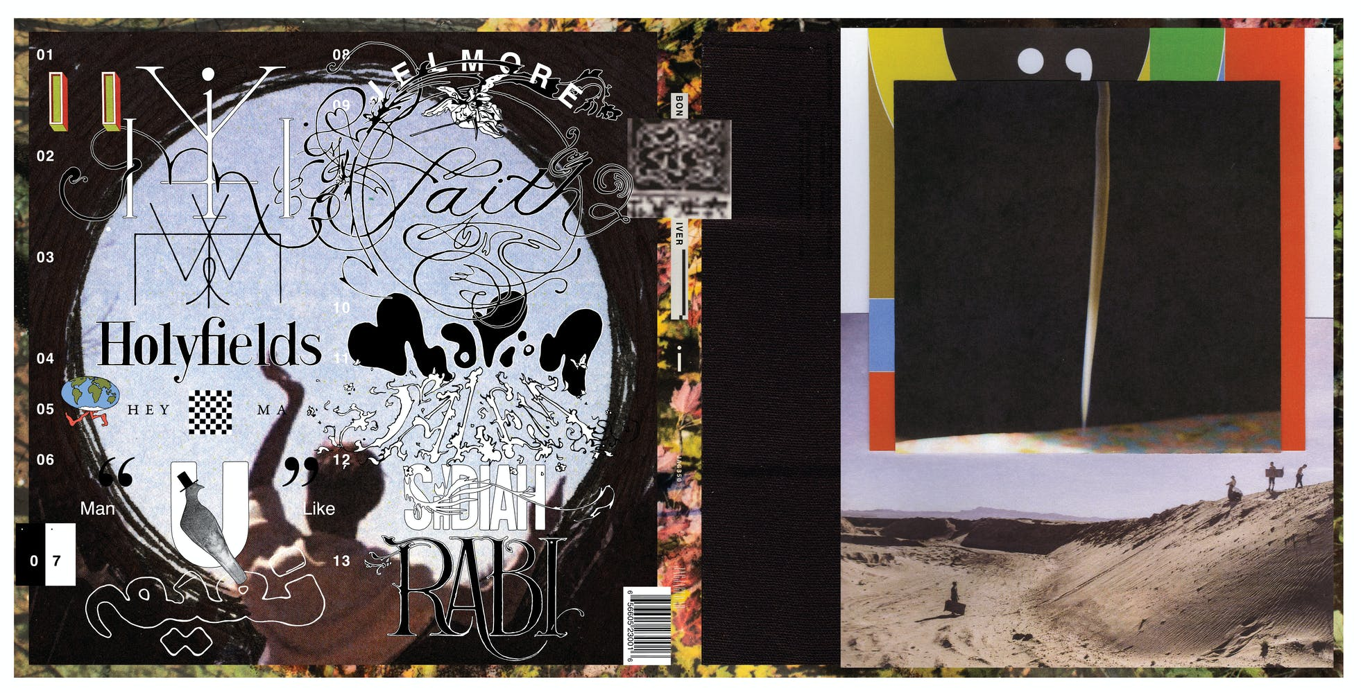 Front and back cover of vinyl record case featuring collaged images and colors
