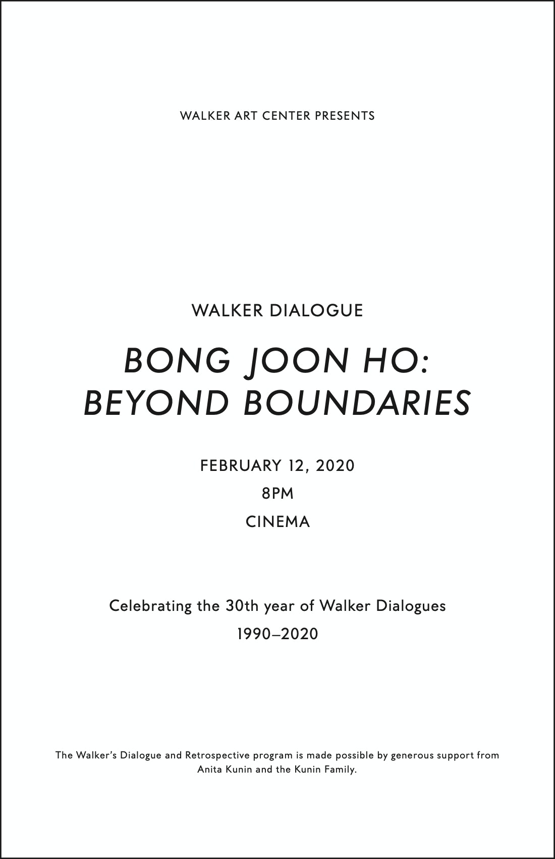 Bong Joon Ho Dialogue brochure cover