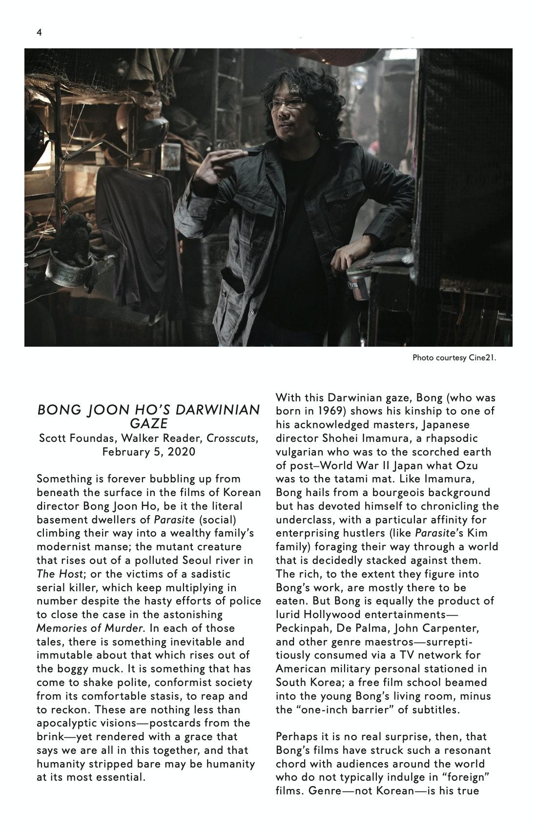 Bong Joon Ho Dialogue brochure page 4
