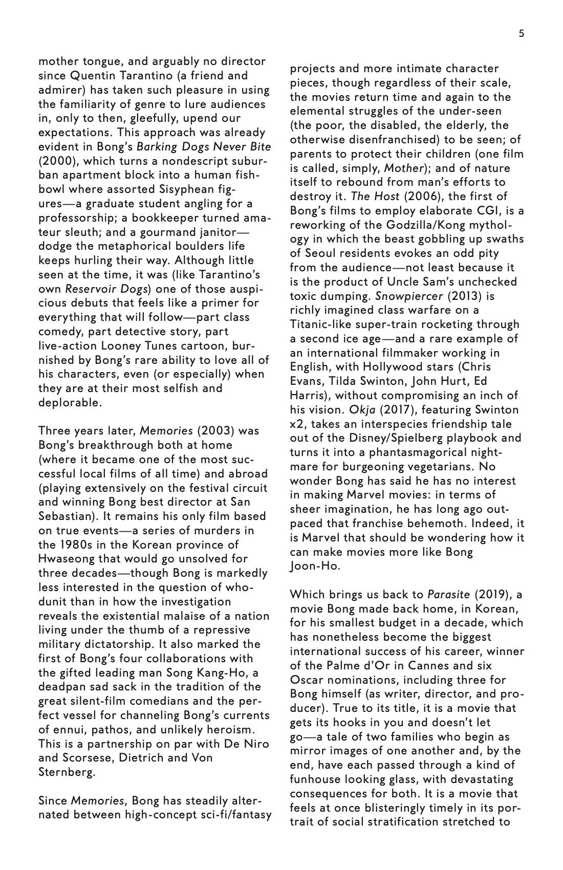 Bong Joon Ho Dialogue brochure page 5