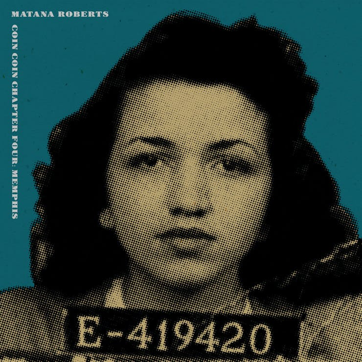A cutout of mug shot of a black woman from the 1940s or '50s. She holds a placard with an ID number. This image is overlaid on top of a green background.