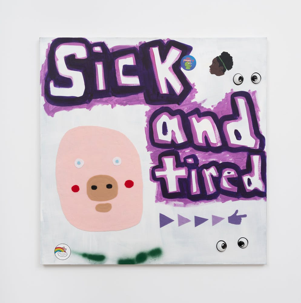 David Leggett's artwork: The cool side of the pillow. Sis, ain't ever tired.