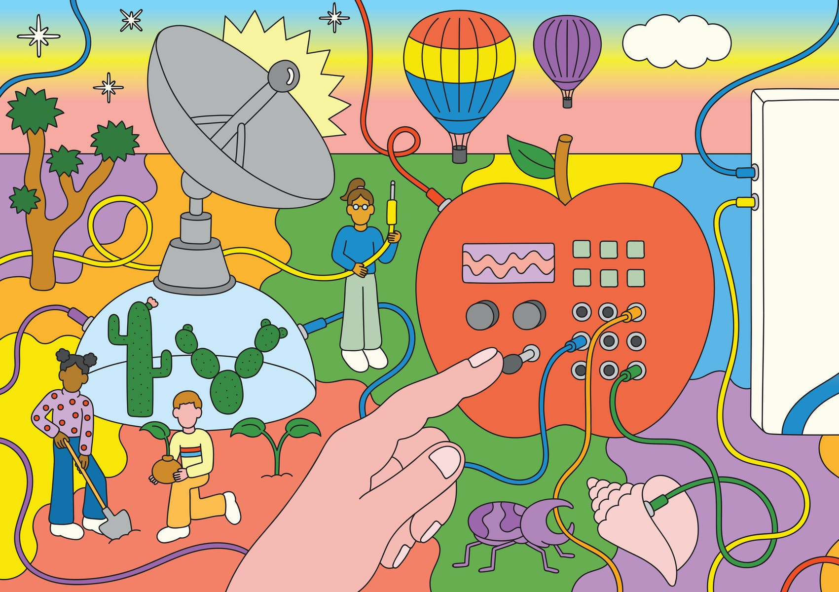Colorful illustration depicting fantastical setting including electronic console embedded in a giant apple, a satellite, children planting cactii, hot air balloons, a beetle, a plug connecting to a conch shell, etc.