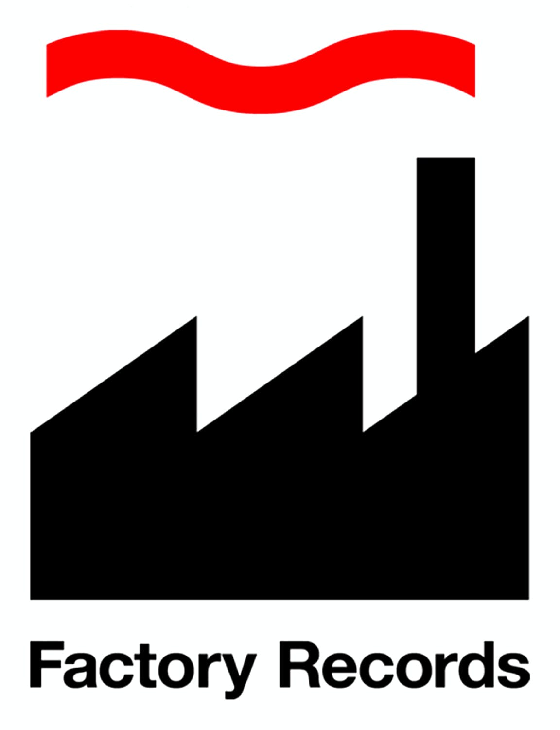9395cf20 Factory Records: Factory smokestack silhouette logo by Peter Saville  Associates, 1984.