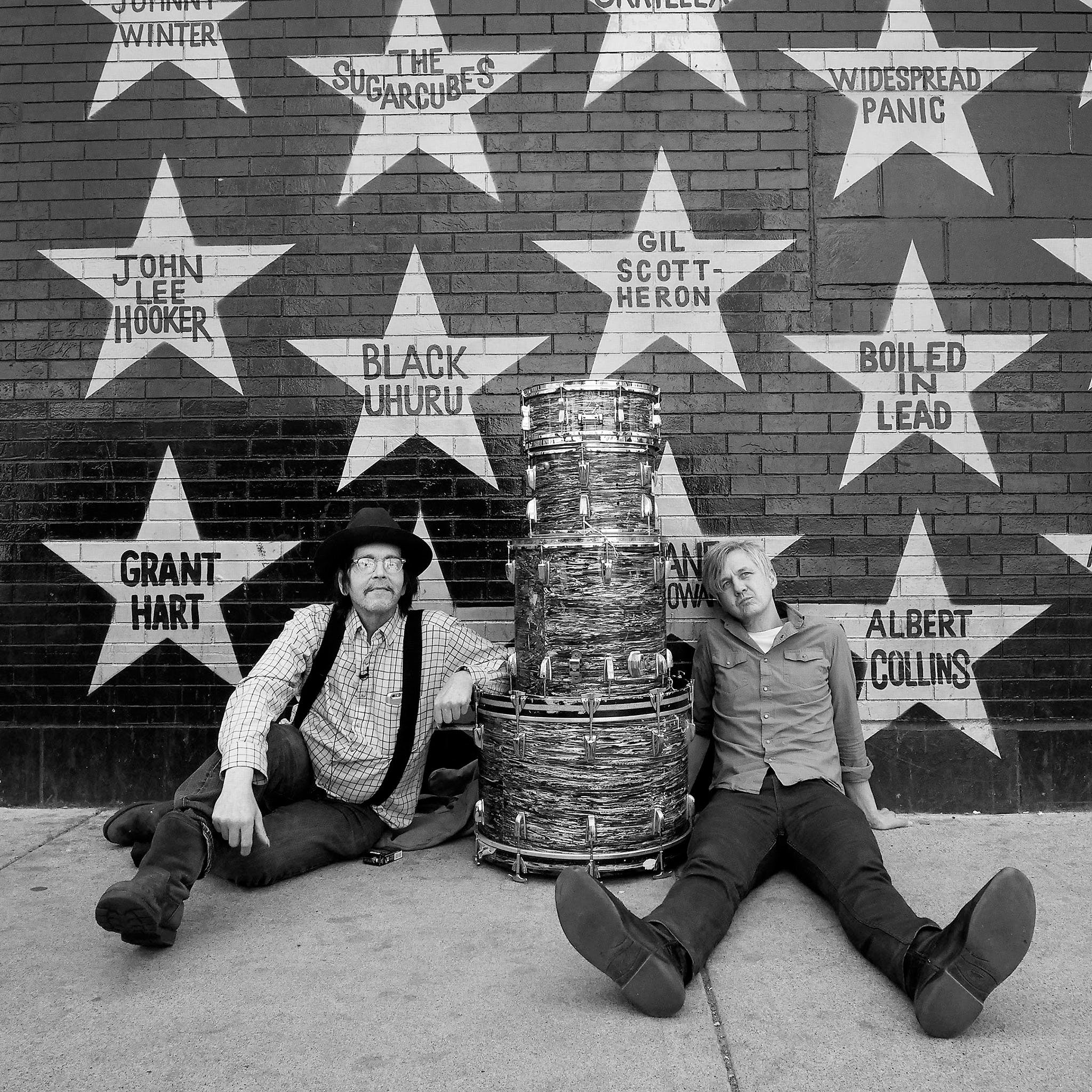 Grant Hart (left) and Chris Larson outside 7th St. Entry, Minneapolis, April 14, 2016
