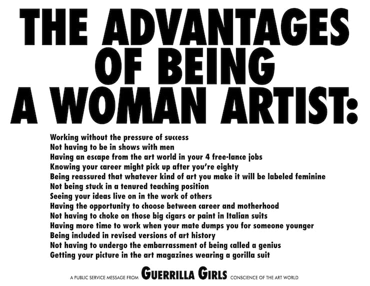 Guerrilla Girls, The Advantages of Being a Woman Artist