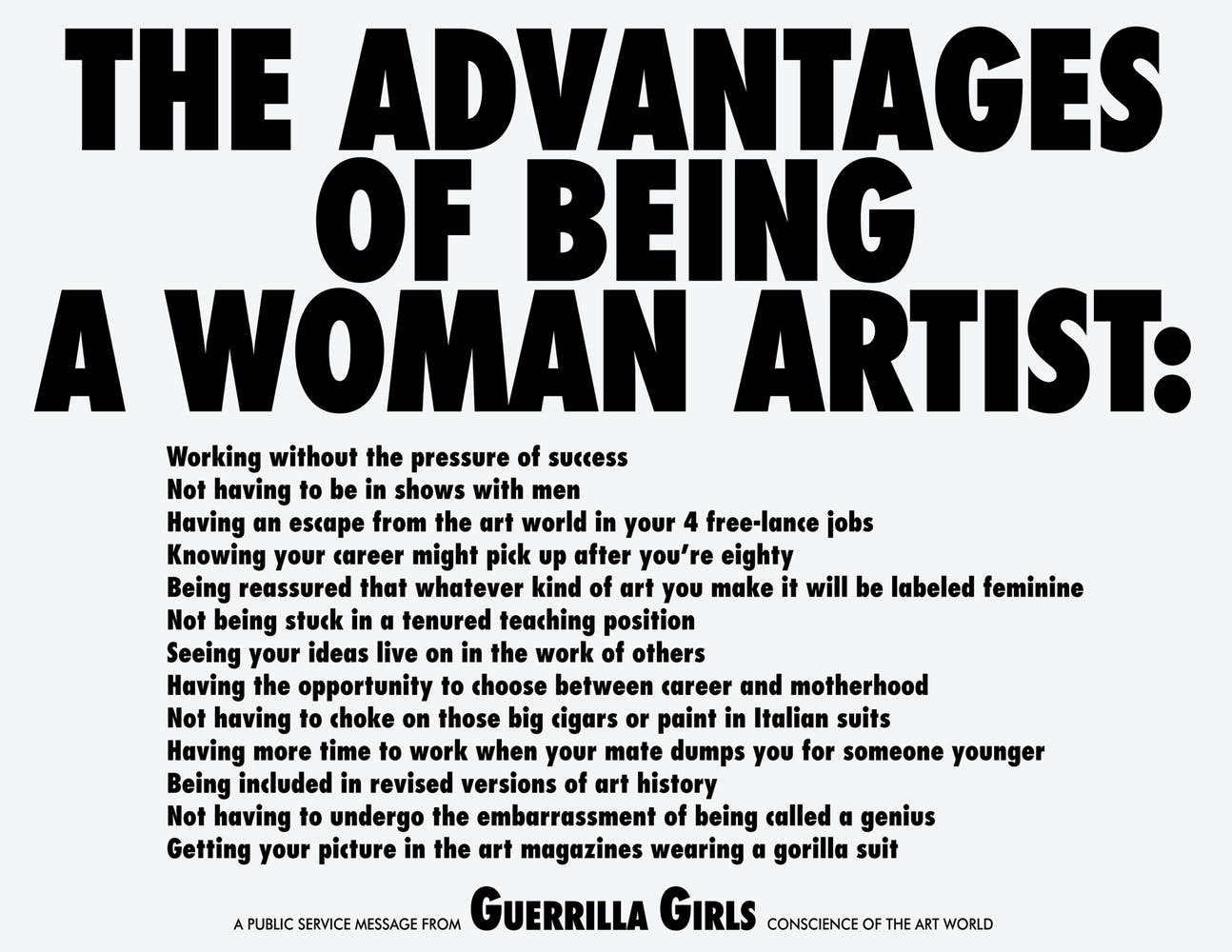 Guerrilla Girls, The Advantages of Being A Woman Artist, 1988