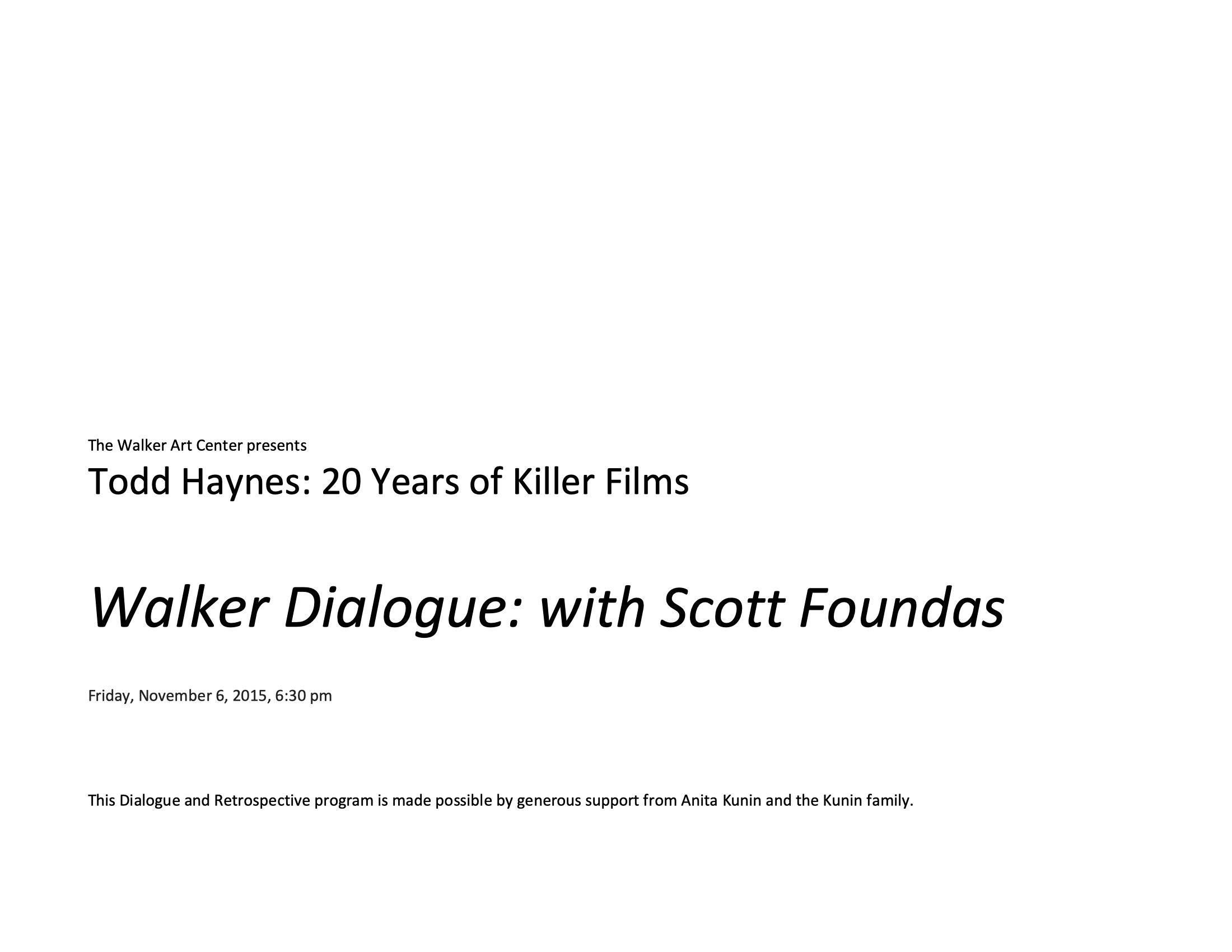 Todd Haynes Dialogues event program notes pg 1