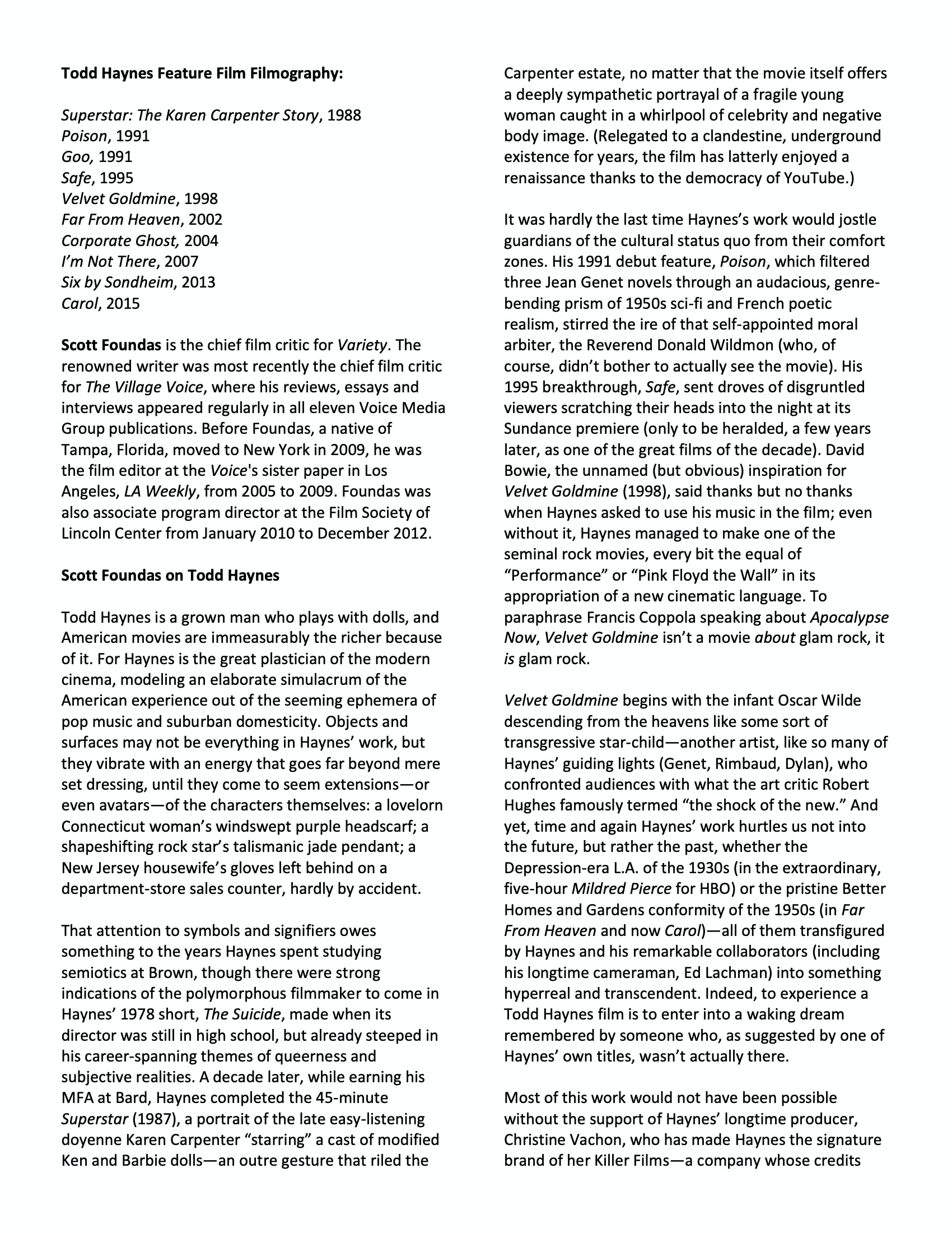 Todd Haynes Dialogues event program notes pg 4