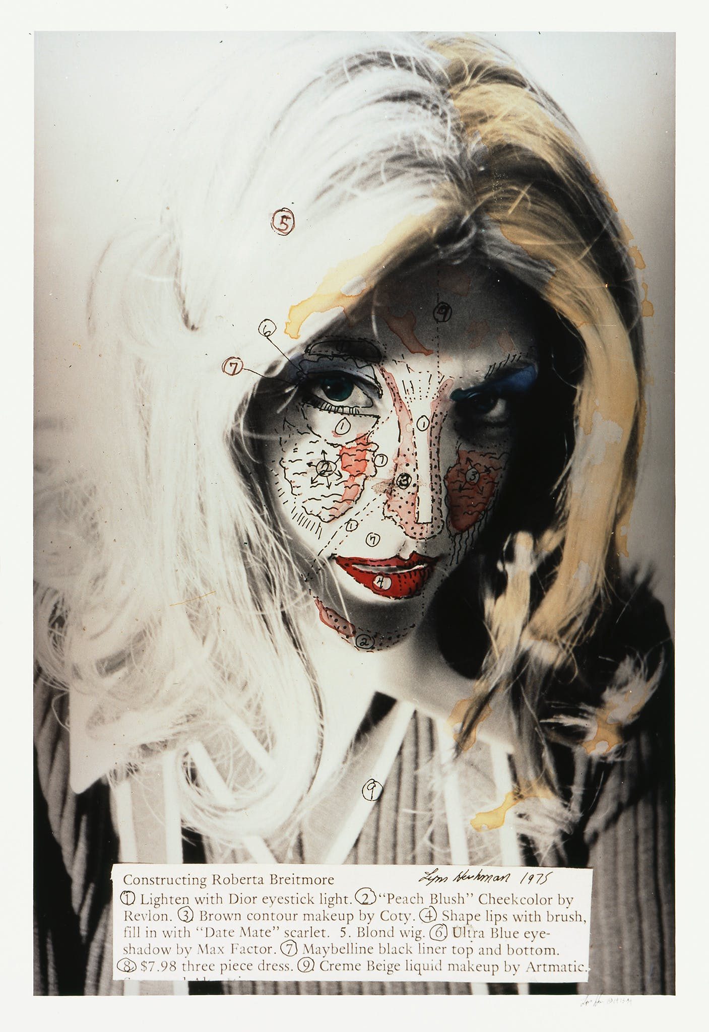 Shot of woman's face with internal body parts drawn on her face. Text inlay lists the makeup name and manufacturer used in each area.
