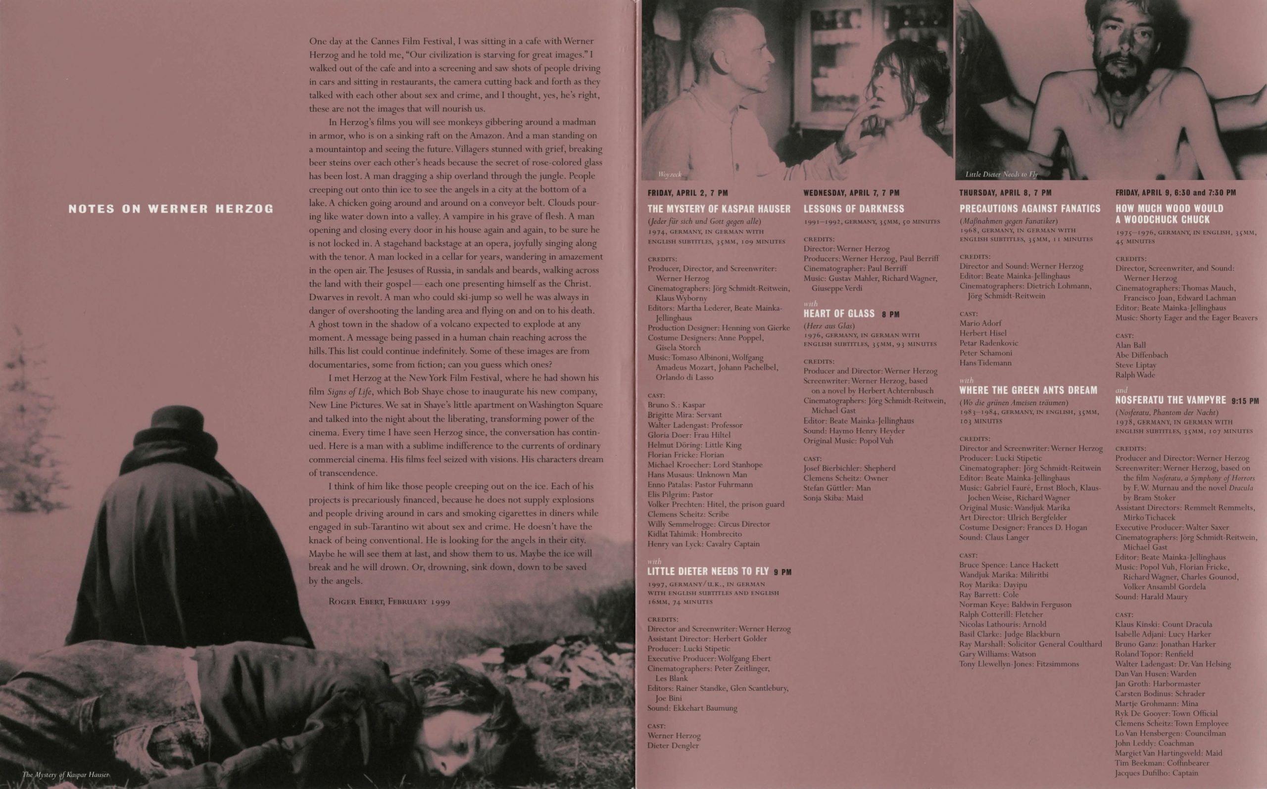 Werner Herzog Dialogue event brochure page 2