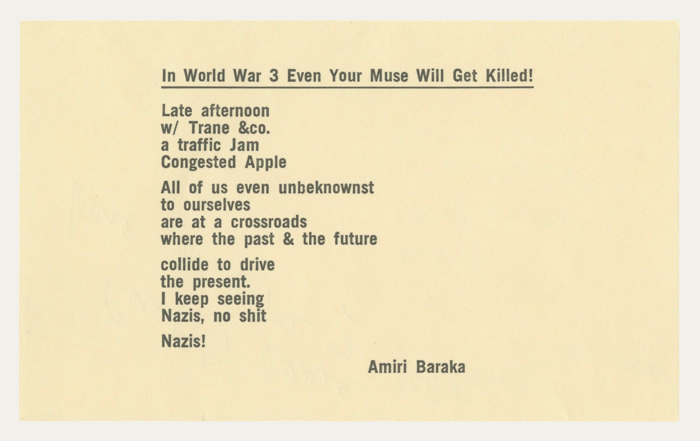 Scan of poem written by Amiri Baraka