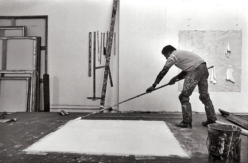 Jack Whitten in his 40 Crosby Street studio New York circa 1974-1975