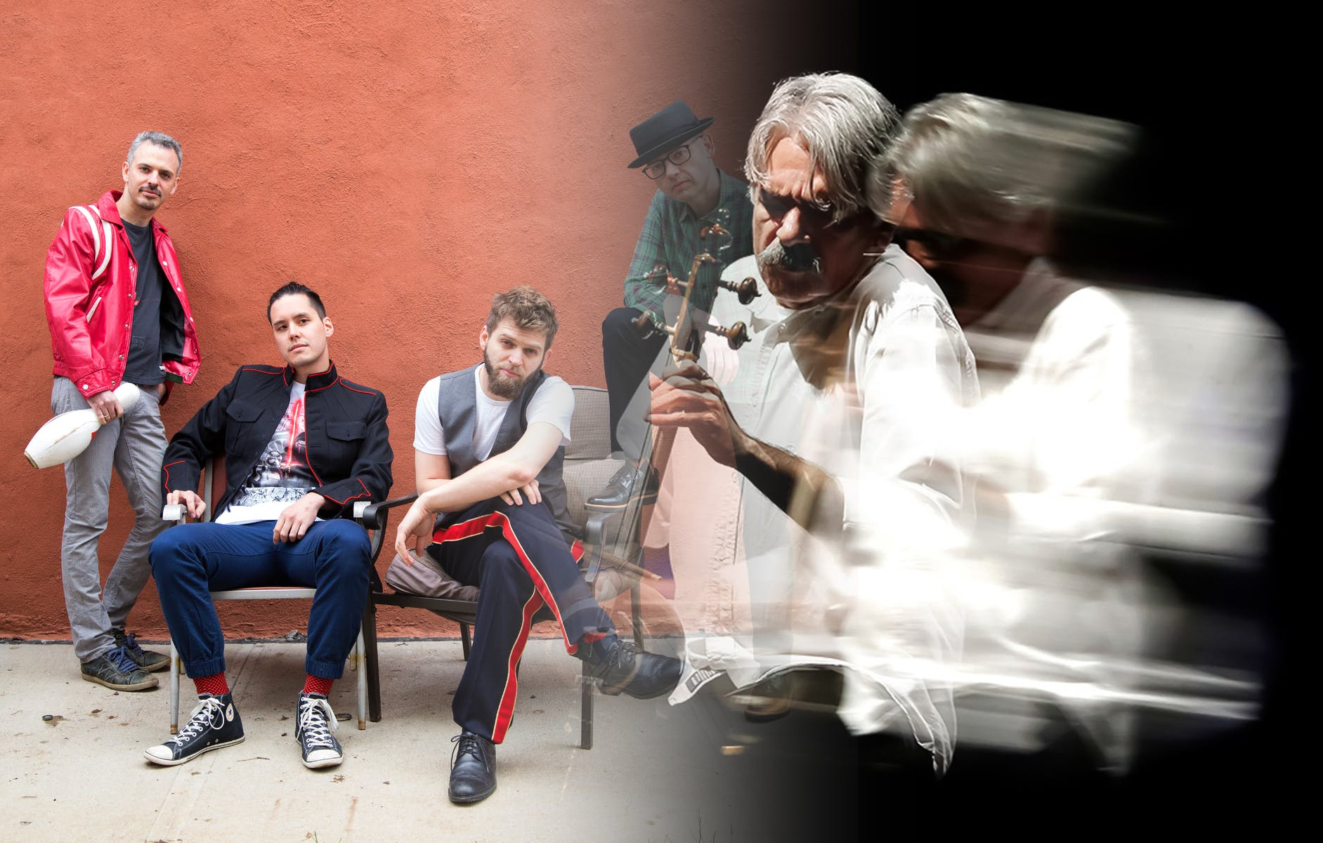 Photo composite of four musicians on the left in front of a brick wall and one musician playing stringed instrument in front of black background on right