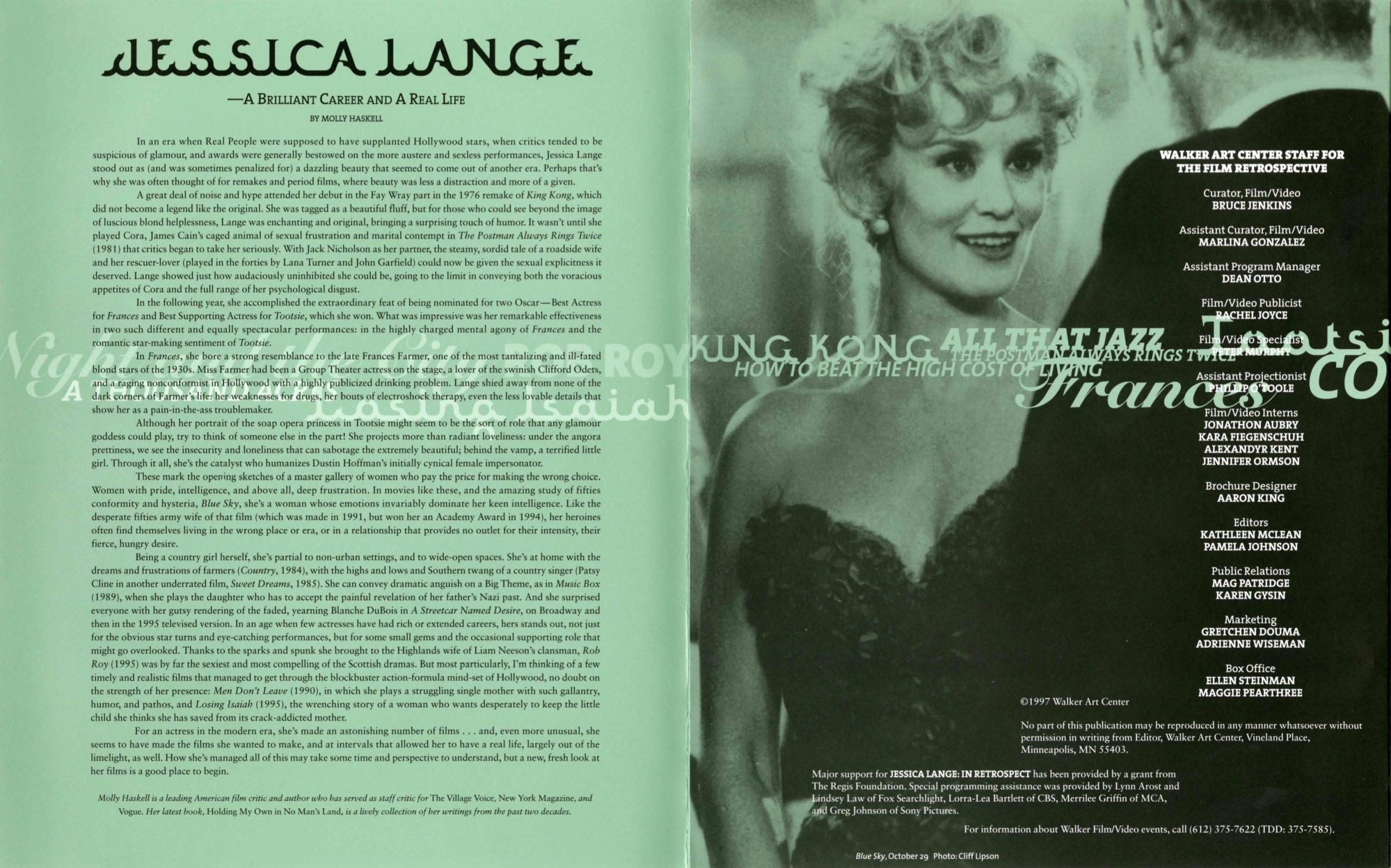 Jessica Lange brochure 2