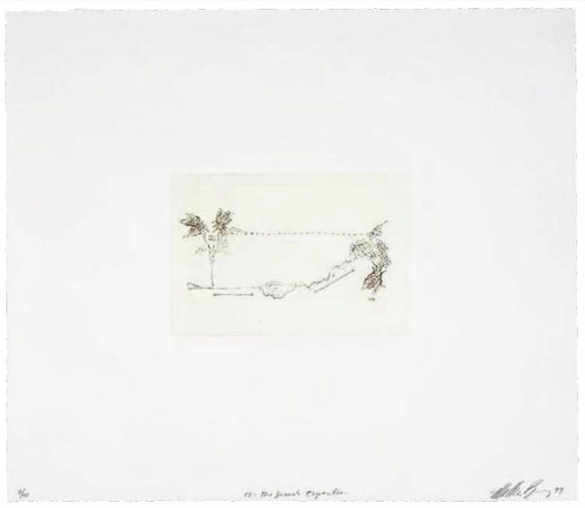 Etching on paper depicting two bees above a hole in the ground.