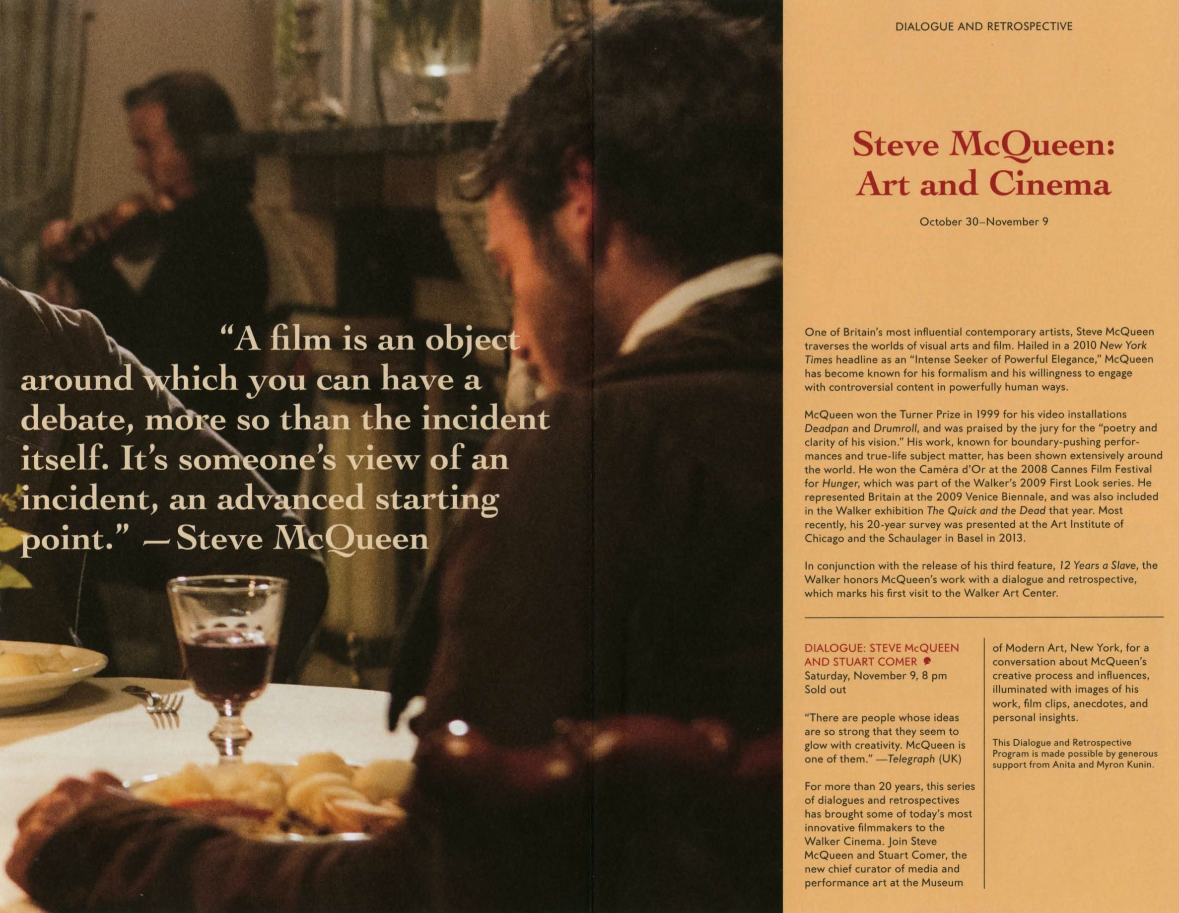Steve McQueen Dialogue event brochure page 1