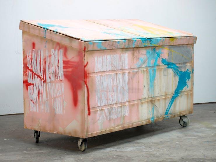 Kaz Oshiro, Dumpster (Flesh with Turquoise Swoosh), 2011