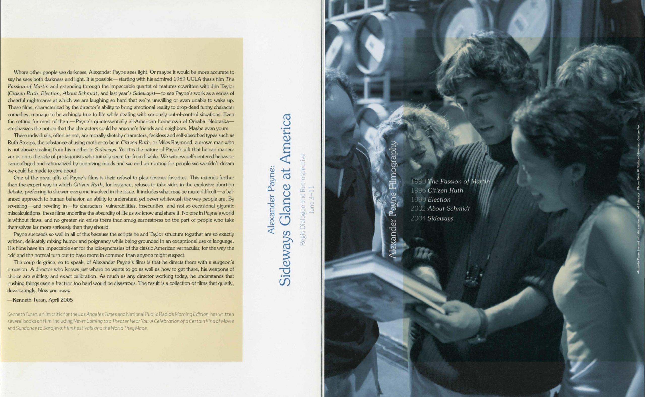 Alexander Payne Dialogue event brochure page 2