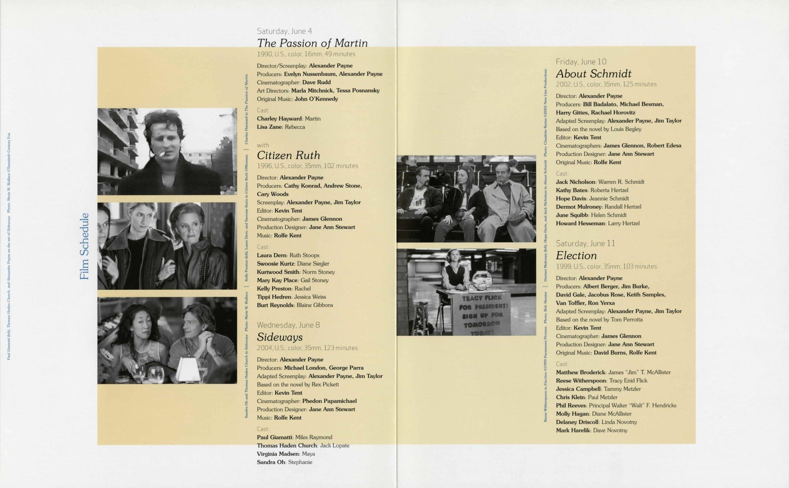 Alexander Payne Dialogue event brochure page 4