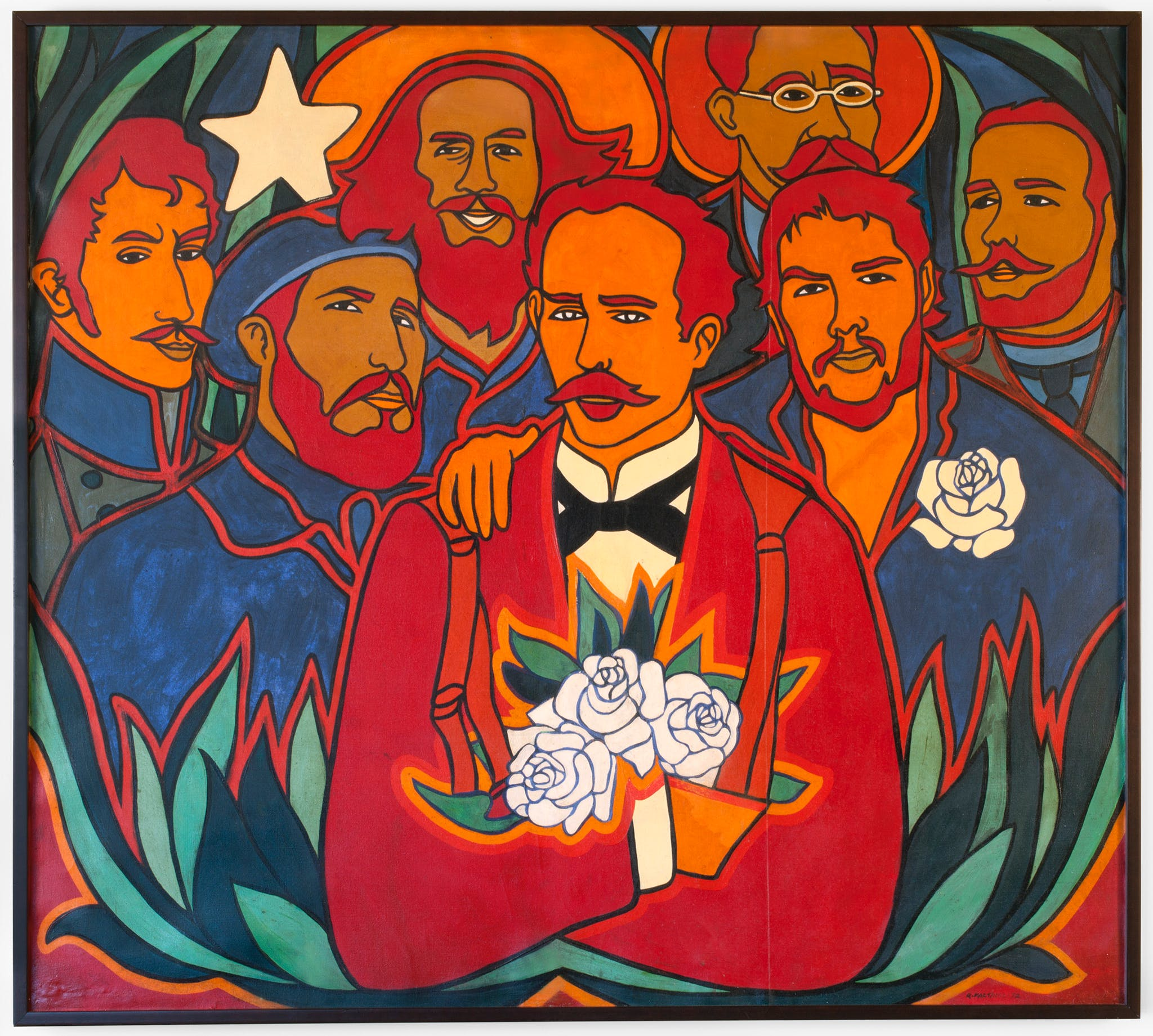 7 Cuban men in a work of orange, blue and ted. One man holding roses.