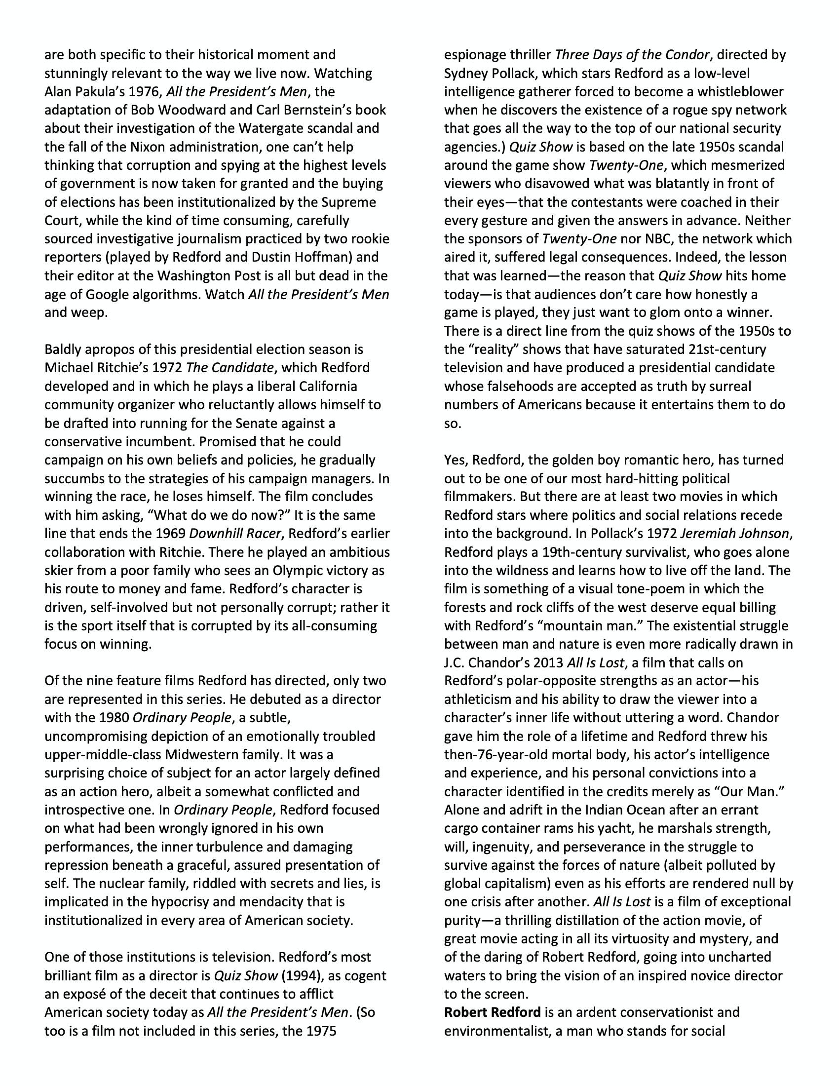Robert Redford program notes pg 3