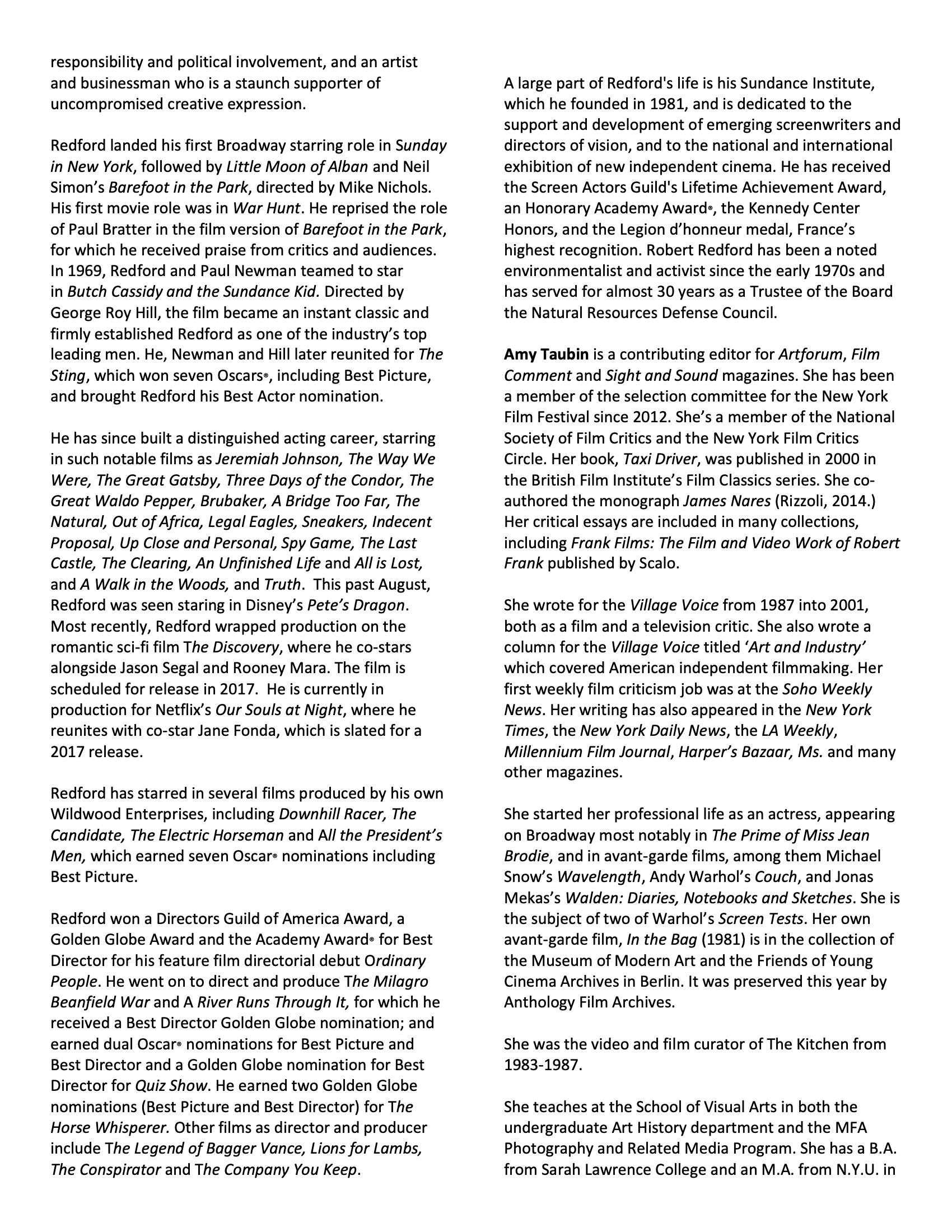 Robert Redford program notes pg 4