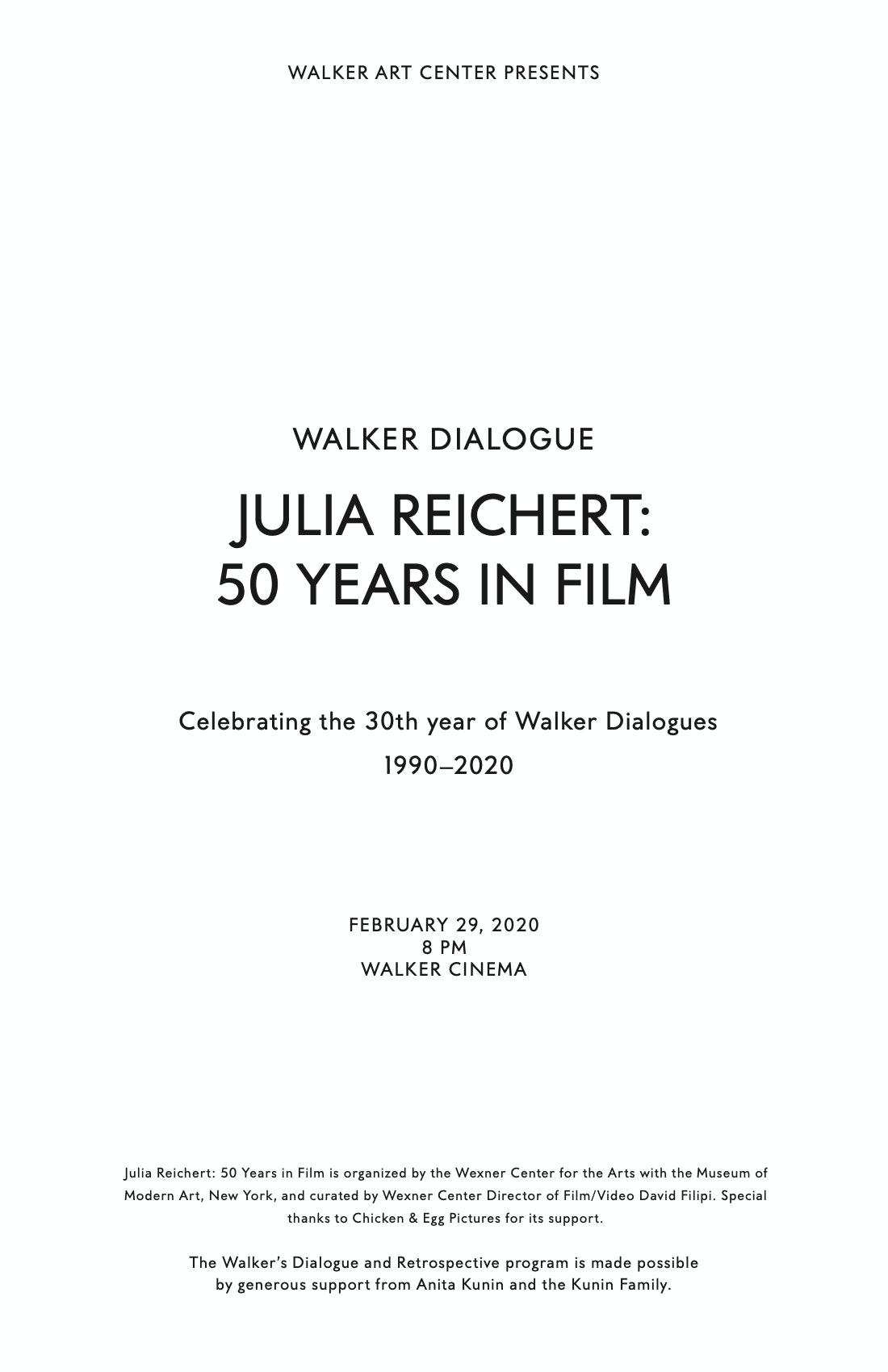 Julia Reichert Dialogue event brochure page 1