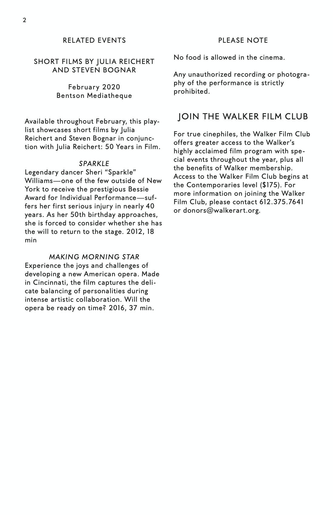 Julia Reichert Dialogue event brochure page 2