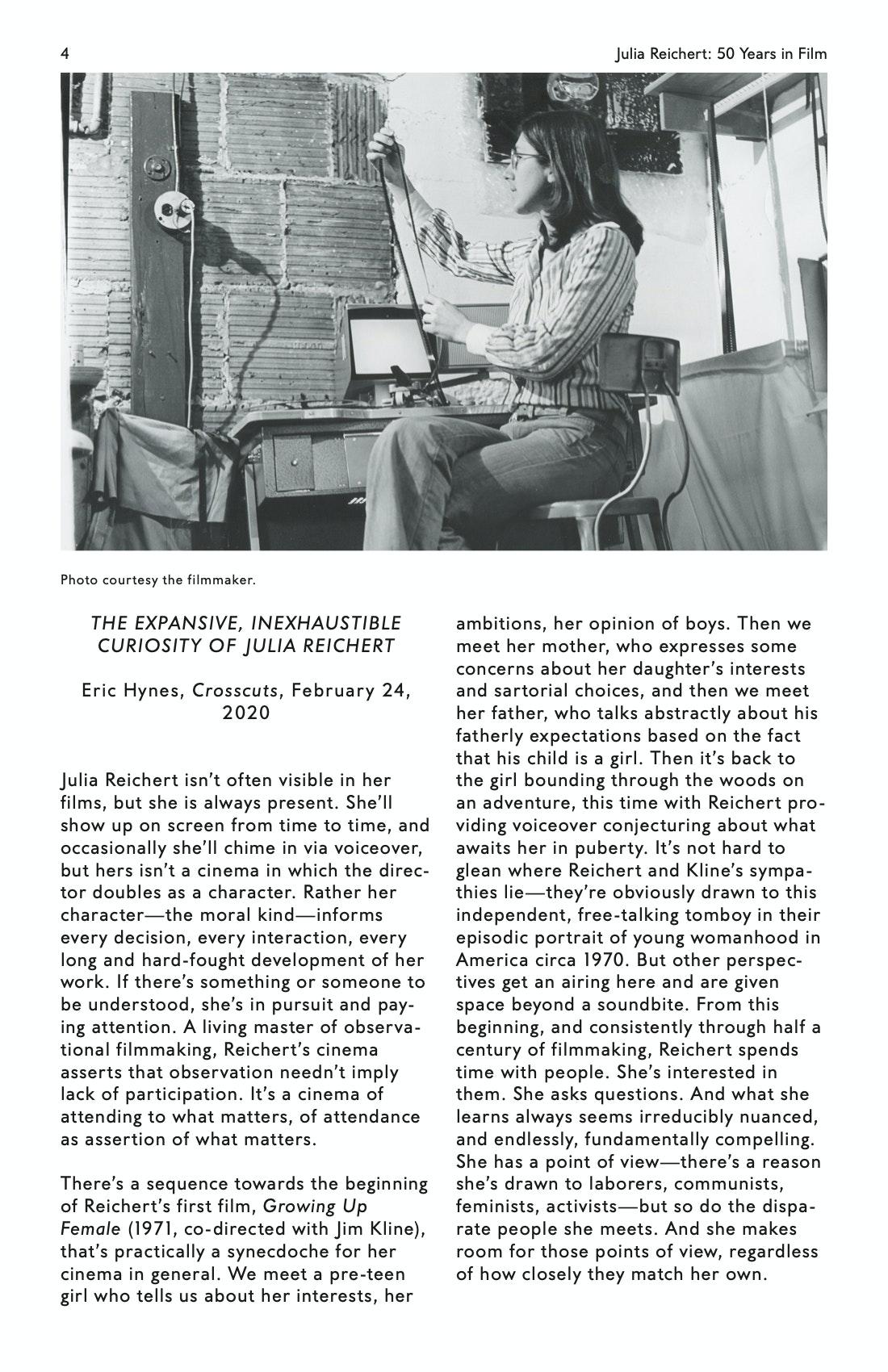 Julia Reichert Dialogue event brochure page 4
