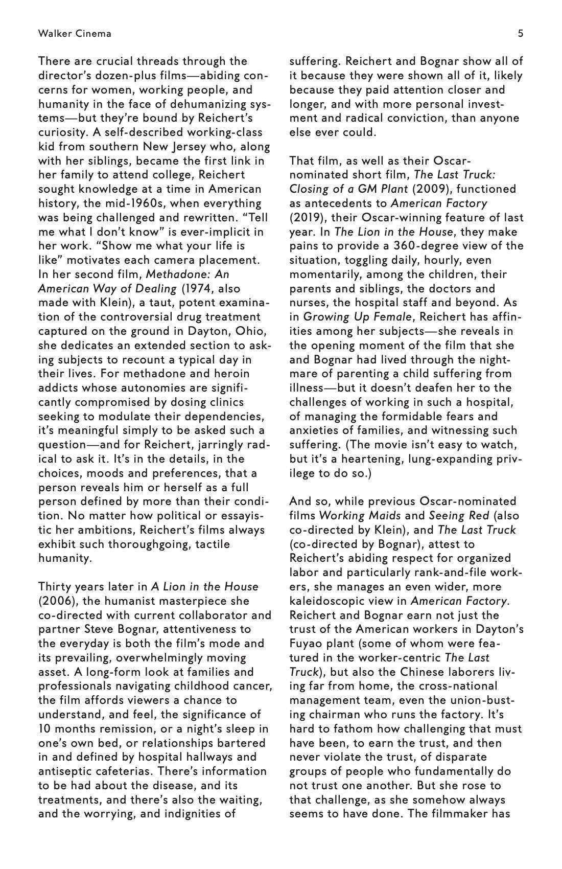 Julia Reichert Dialogue event brochure page 5