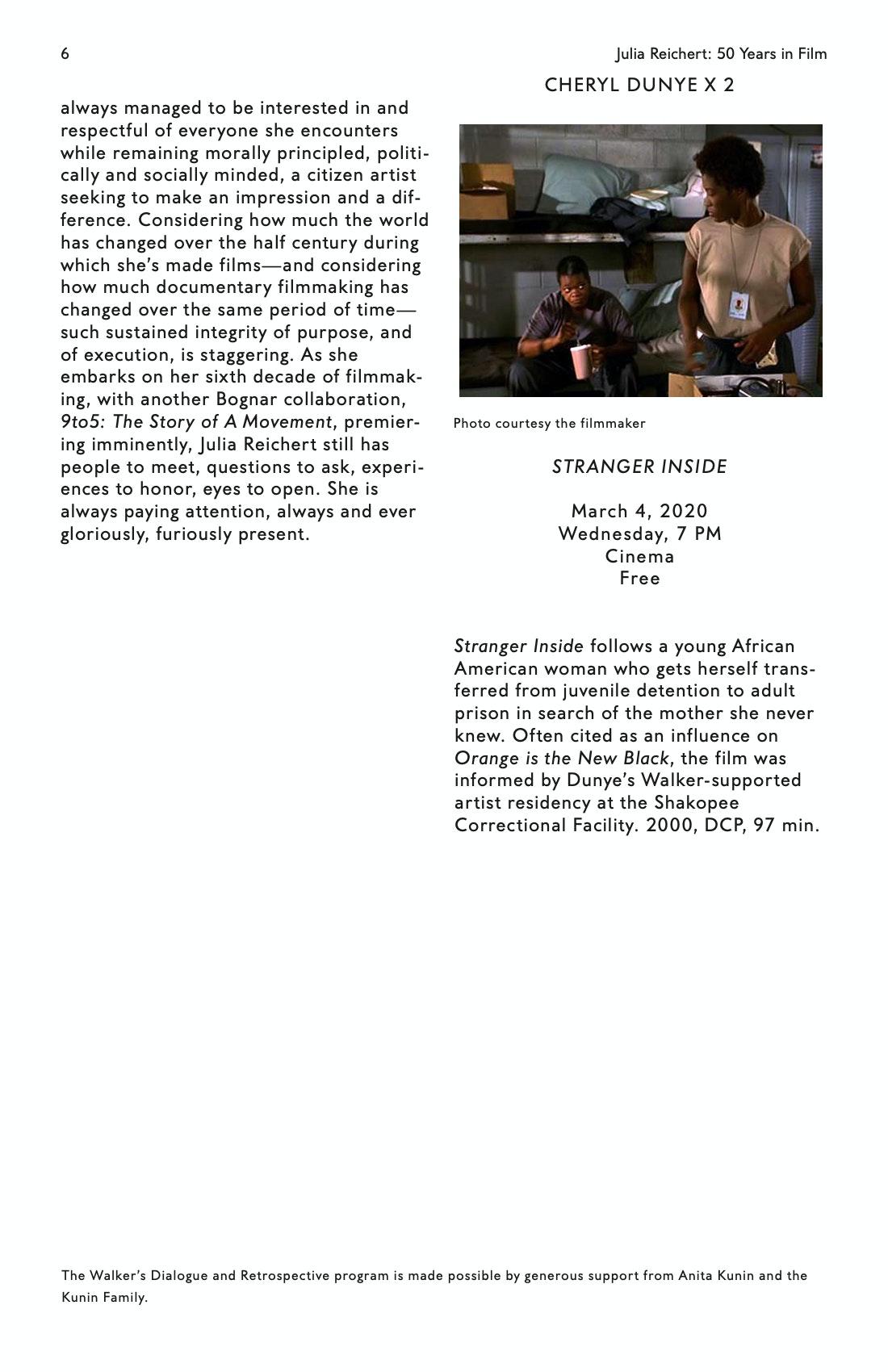 Julia Reichert Dialogue event brochure page 6