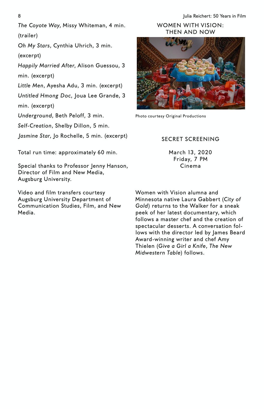 Julia Reichert Dialogue event brochure page 8