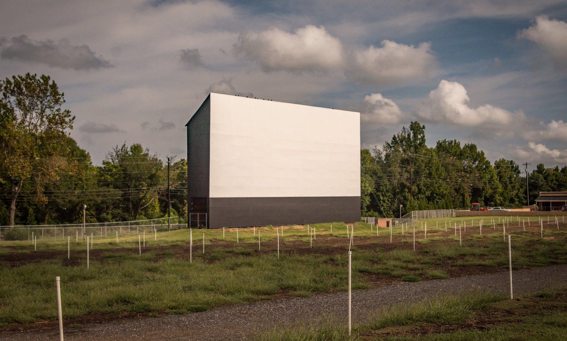drive-in movie screen in field