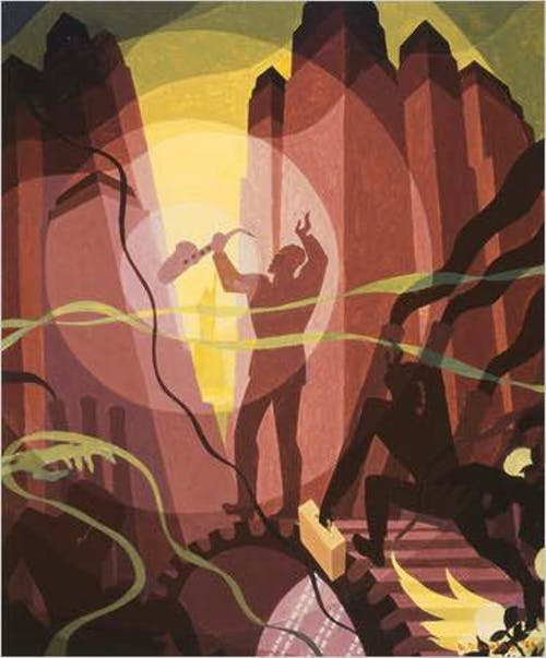 "Aaron Douglas,""Song of the Towers"" from the mural Aspects of Negro Life. Oil on canvas, 1934. Courtesy of The New York Public Library, Schomburg Center for Research in Black Culture, Art and Artifacts Division."