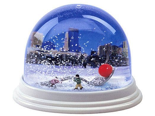 Spoonbridge and Cherry Snowglobe. Gift box and snowglobe are included with gift memberships purchased at the Walker; not available with phone or online orders