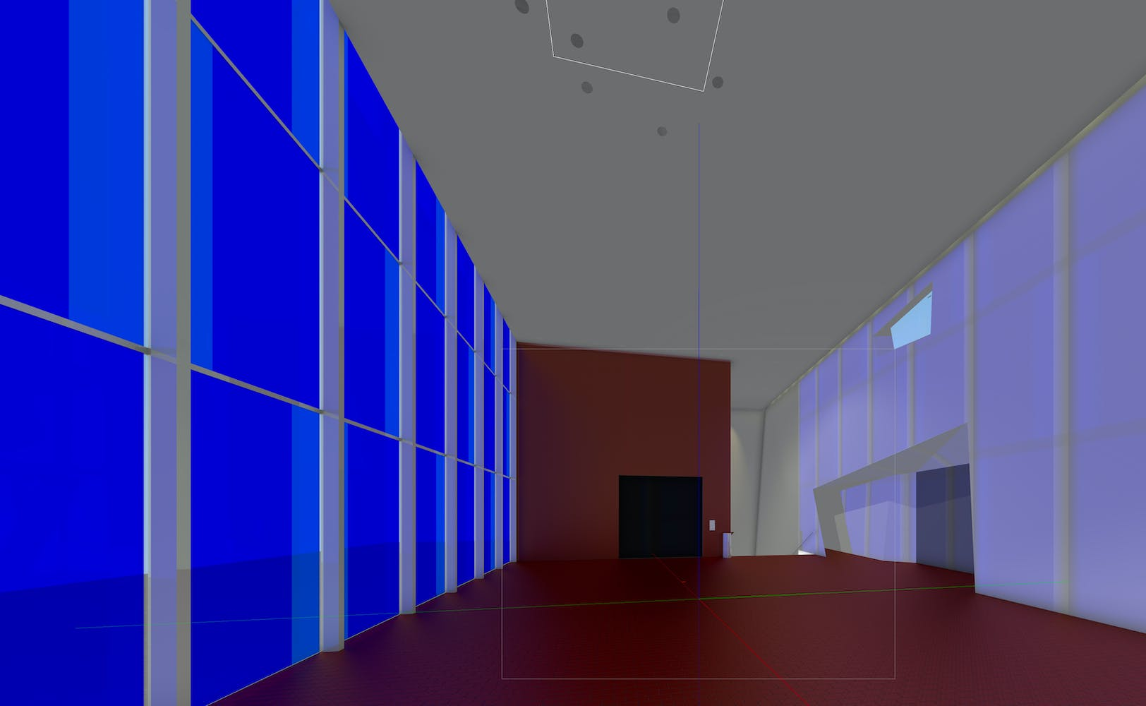Digital rendering of lounge with giant windows covered with deep blue film