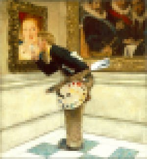 Norman Rockwell, The Art Critic, 1955, pixelated.