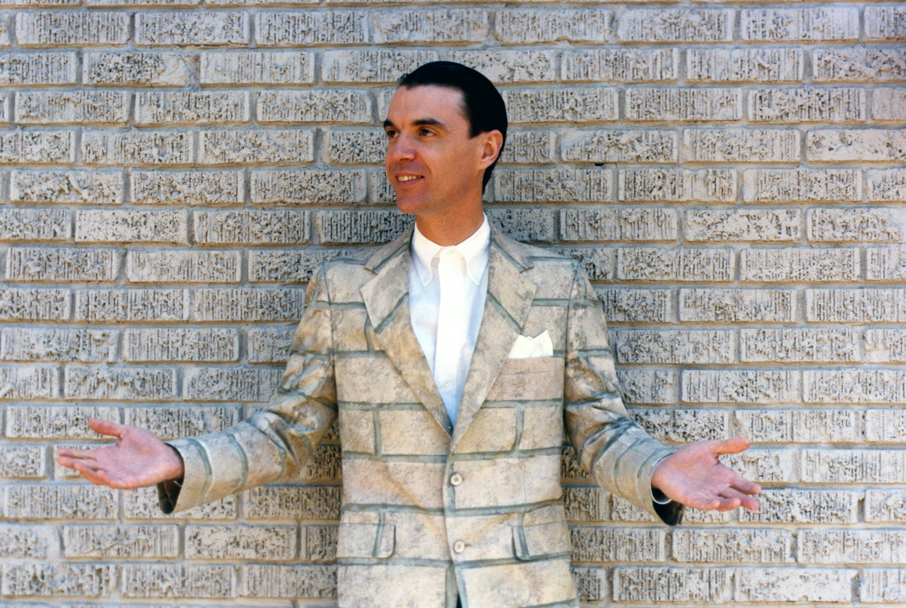 David Byrne standing against a brick wall in a brick patterned suit.