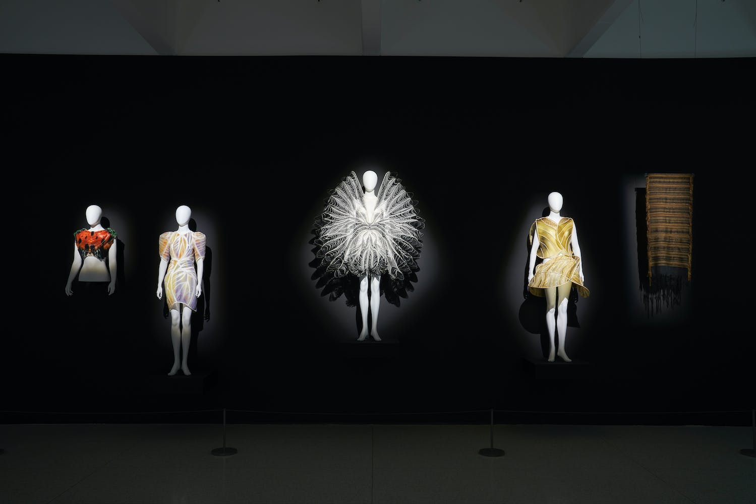 Four dresses on mannequins and one piece of cloth hung on a black wall