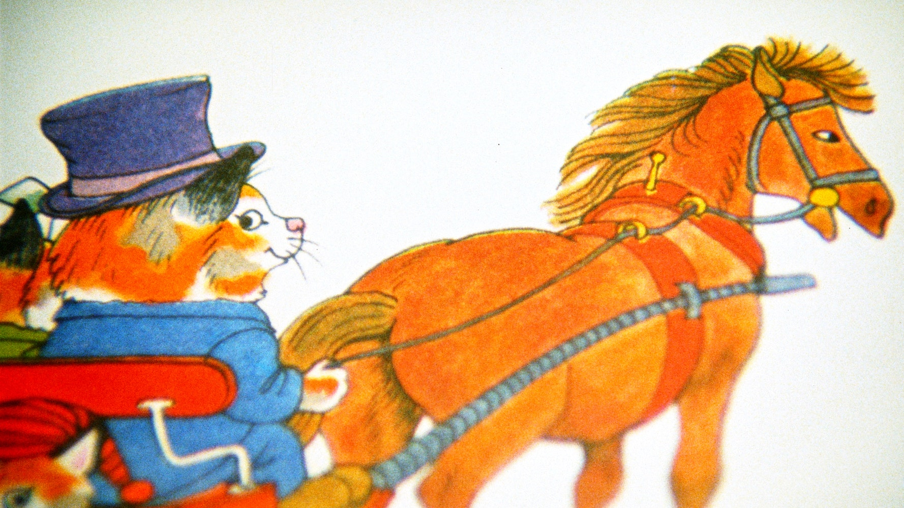 Colorful illustration of a cat in a top hat steering a horse-drawn carriage