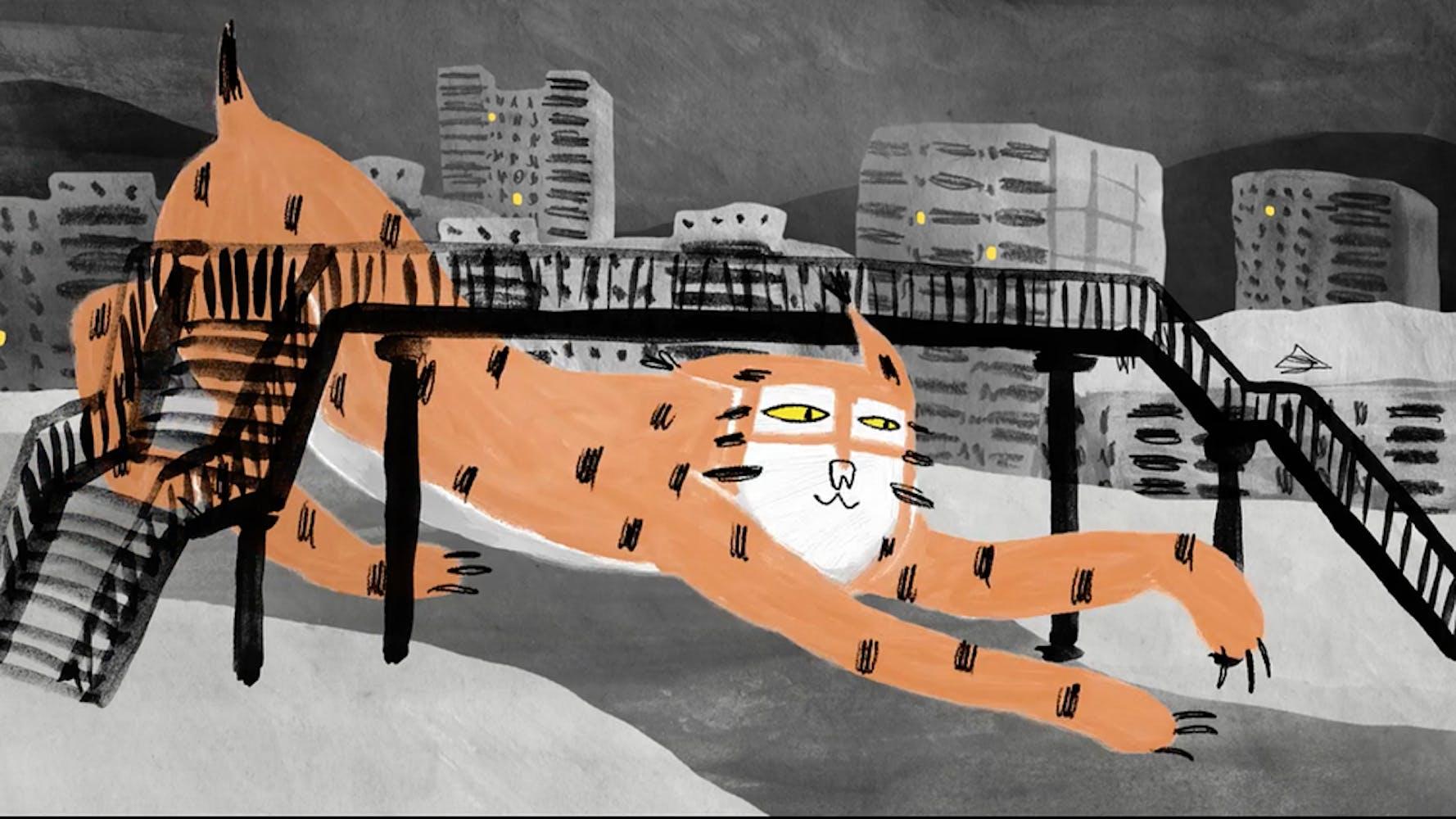 Illustration of tiger under a bridge
