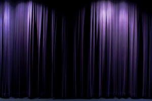 dimly lit movie curtains