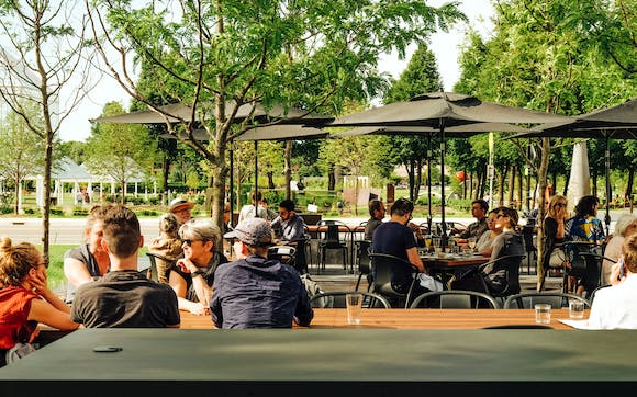 Cafe goers at Esker Grove patio.