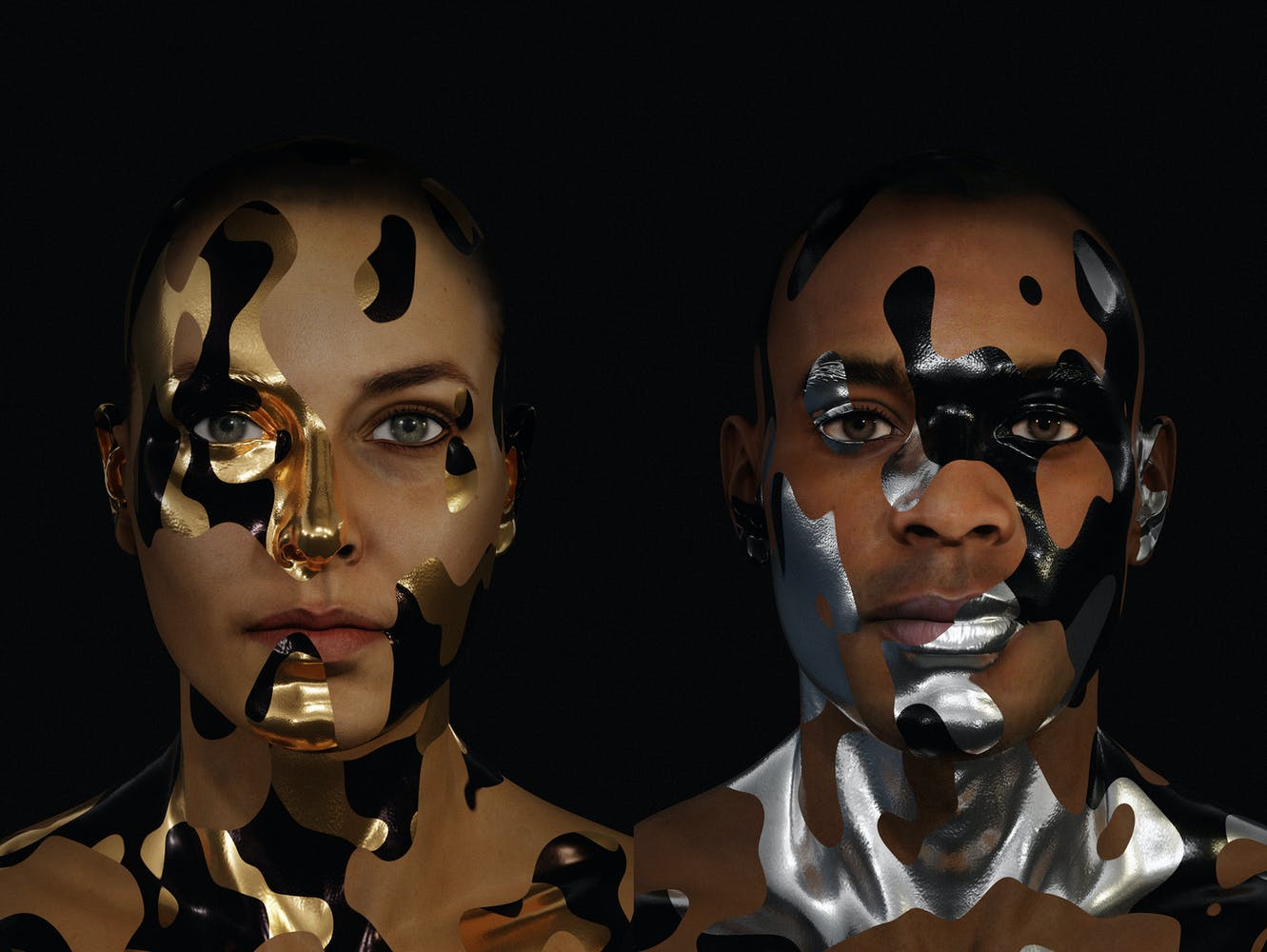 Image of woman and man with metallic camouflage-like face paint