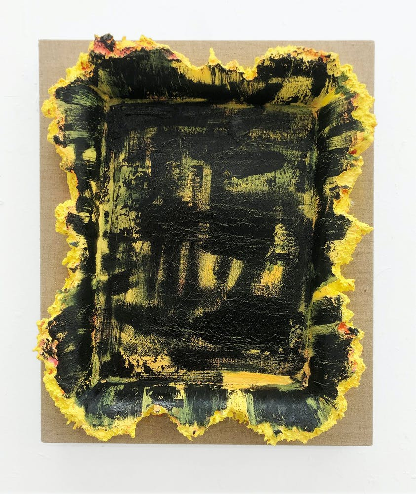 Andrew Dadson's painting in black and yellow